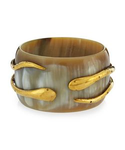 Ashley Pittman | Light Horn Double-Snake Bangle Bracelet Womens Gold
