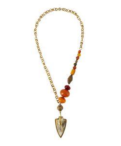 Ashley Pittman   Amber Bronze Statement Necklace W/ Shield Pendant Womens Gold