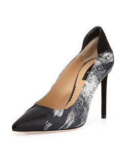 Reed Krakoff | Academy Printed Leather Pointed-Toe Pump Black/White Womens Size 8 1/2 Black Whit