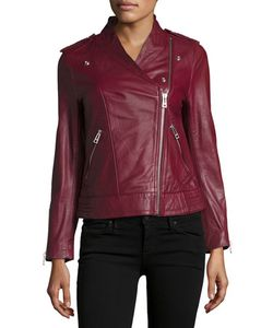 Zadig & Voltaire | Leather Asymmetric Zip Jacket Red