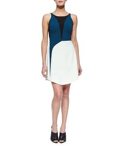 Narciso Rodriguez | Tricolor Harness-Back Dress Green Multi Womens Size 46 It 10 Us