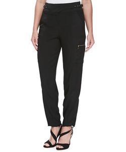 Jason Wu | Satin-Backed Crepe Cargo Pants Womens Size 8 Black