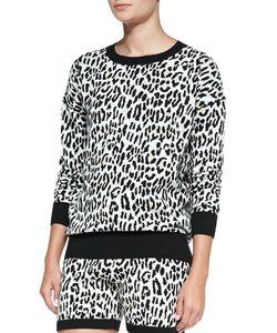 Derek Lam 10 Crosby   Leopard-Print Jacquard Track Shorts Womens Size M Cream Multi
