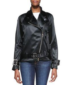 Jason Wu | Satin Finish Motorcycle Jacket Black Womens Size 4