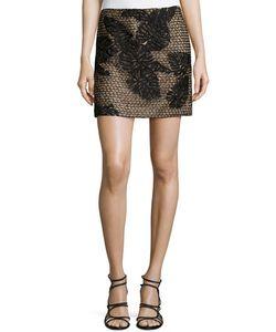 J. Mendel   Embroidery Mini Skirt Noir Womens Size 10 Golden Multi