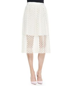 Lela Rose | Net Lace Midi Skirt Womens Size 10 Ivory