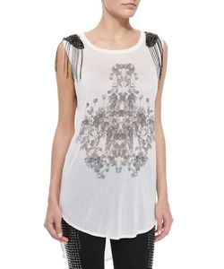 Haute Hippie | Rose-Print Beaded Slub Tank