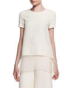 Ralph Lauren Collection | Layered-Hem Short-Sleeve Top