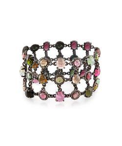 Bavna | Triple-Row Multicolored Tourmaline Diamond Statement Bracelet