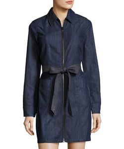 7 For All Mankind | Long-Sleeve Zip-Front Denim Dress