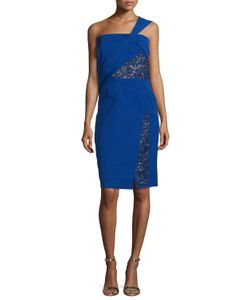 J. Mendel | One-Shoulder Dress W/Lace Insets Imperial Blue Womens Size 8