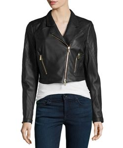 Jason Wu | Cropped Leather Moto Jacket Black Womens Size 0
