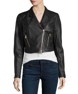 Jason Wu | Cropped Leather Moto Jacket Black Womens Size 0
