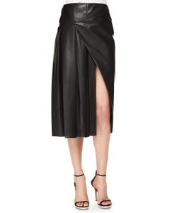 Prabal Gurung | Faux-Wrap Pleated Leather Midi Skirt Womens Size 8 Navy