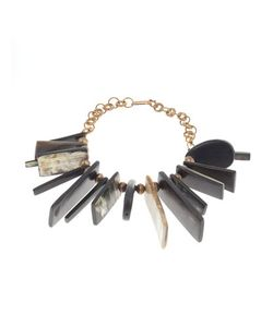 Ashley Pittman | Long Dark Horn Dangle Necklace Womens Gold