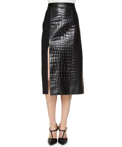 Jason Wu | Croc-Embossed Leather Paneled Skirt Womens Size 12 Black