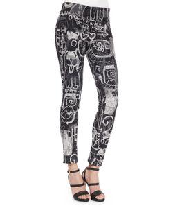 Donna Karan | Side-Zip Printed Slim Pants Black Multi Womens Size 8
