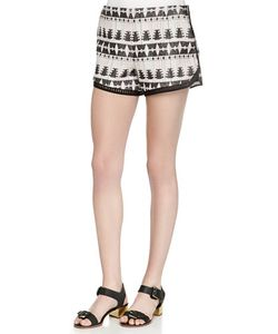 Thakoon Addition | Tribal-Pattern Relaxed Shorts Womens Size 8 Black Blush