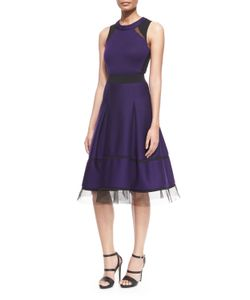 Donna Karan | Mesh-Inset Belted Fit-And-Flare Combo Dress Womens Size 8 Dark Purple