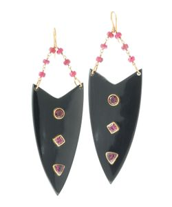 Ashley Pittman | Arrow Ruby Tourmaline Earrings Dark Horn Womens