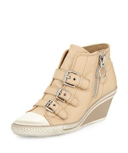 Ash | Gin Bis Buckled Leather Wedge Sneaker Off