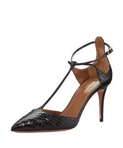 Aquazzura | Scarlet Snakeskin Ankle Pump