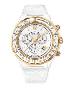 Versace   43mm S Dv One Ceramic Chronograph Watch Golden