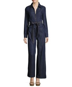 7 For All Mankind | Long-Sleeve Zip-Front Denim Jumpsuit