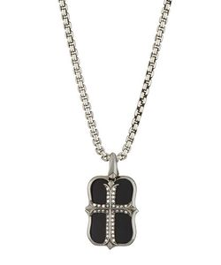 Stephen Webster   S No Regrets Onyx Diamond Cross Dog Tag Necklace
