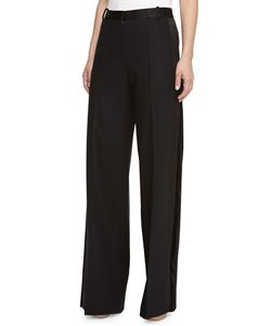 Jason Wu | Wide-Leg Satin-Waist Trousers Black Womens Size 8