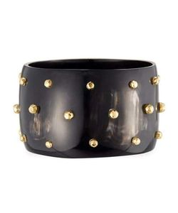Ashley Pittman | Anga Wide Studded Dark Horn Bangle