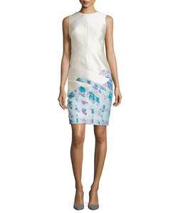 J. Mendel | Sleeveless Scuba Sheath Dress Ivoire/Fuchsia