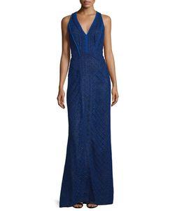 J. Mendel   Sleeveless V-Neck Lace-Overlay Gown