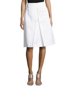 Michael Kors Collection | Center-Pleat Skirt Optic White