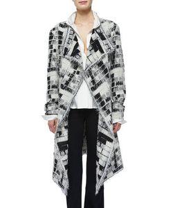 Donna Karan | Skylights Jacquard Fringe Topper Coat