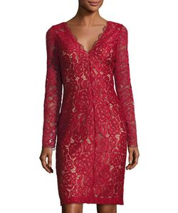 Vera Wang | Long-Sleeve Lace Cocktail Dress