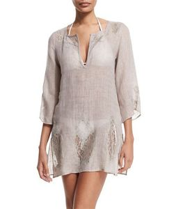 Florabella | Wynn 3/4-Sleeve Lace-Inset Tunic Coverup