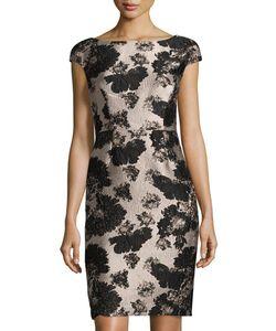 Vera Wang | Cap-Sleeve Jacquard Sheath Cocktail Dress