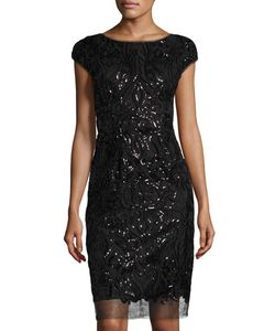 Vera Wang | Cap-Sleeve Sequined Cocktail Dress