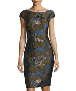 Vera Wang | Cap-Sleeve Brocade Sheath Dress