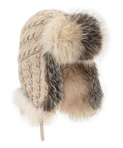 Inverni | Cashmere Cable Trapper Hat W/Fur Trim