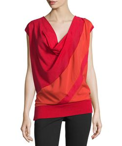 Costume National | Cap-Sleeve Draped Two-Tone Top