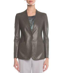 Giorgio Armani | Faux-Lapel Plonge Leather Blazer