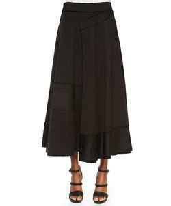Donna Karan | Paneled Raw-Edge Detailed Wrap Skirt