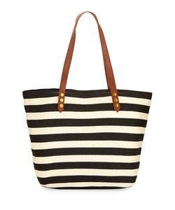 San Diego Hat Company | Striped Zip Tote Bag