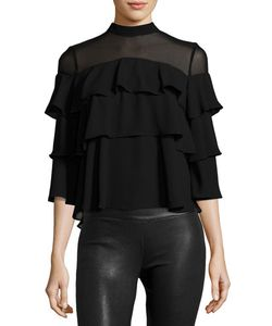 P. Luca | Tiered-Ruffle Crepe Blouse