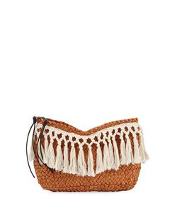 San Diego Hat Company | Fringed Woven Two-Zip Clutch