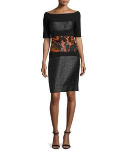 J. Mendel | Half-Sleeve Combo Sheath Dress