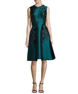 Lela Rose   Sleeveless Embroidered Dress