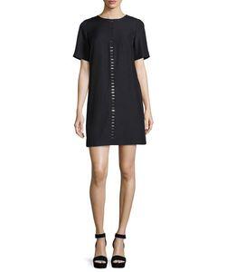 Suno   Short-Sleeve Metal-Stud Shift Dress
